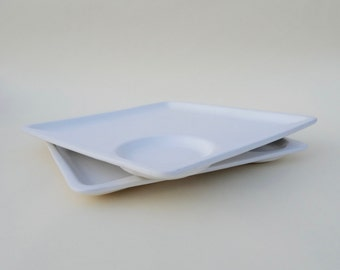 Coming soon-A Pair of Modern White Plates with Sections