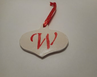 Personalized First Initial Ceramic Ornament W, Handmade Pottery, Hand Painted, Christmas, Holiday Decor