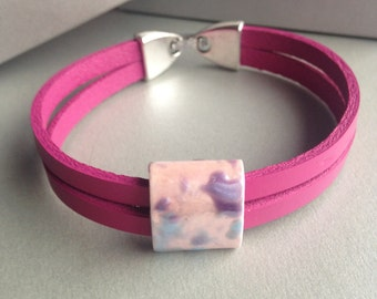 Pink Natural Leather Bracelet- Double Strand Leather Bracelet- Ceramic Square Bead Bracelet-Pink Bracelet
