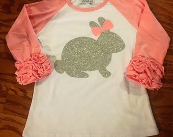 Easter bunny Ruffle Raglan shirt for little girls. Boutique tshirt with rabbit & bow for toddler. Infant sparkle shirt for spring pictures