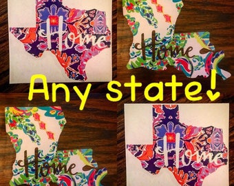 "Lilly Pulitzer ""home"" State decal. Decals for Yeti, RTIC, Ozark tumblers. Window sticker for vehicle. Laptop decal."