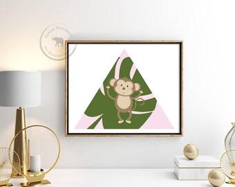 Monkey Print- Monkey Wall Art - Monkey Decor - Monkey  Nursery Art - Safari Nursery - Safari Theme - Safari Party - Girl Nursery Decor