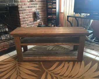 "50"" Rustic Gray TV Console Table.. Wood Console Table"