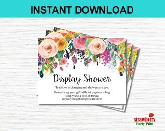 Display Shower Invitation Inserts. Floral Baby Shower Invitation. Floral Bridal Shower Invitation. INSTANT DOWNLOAD, C17 B14