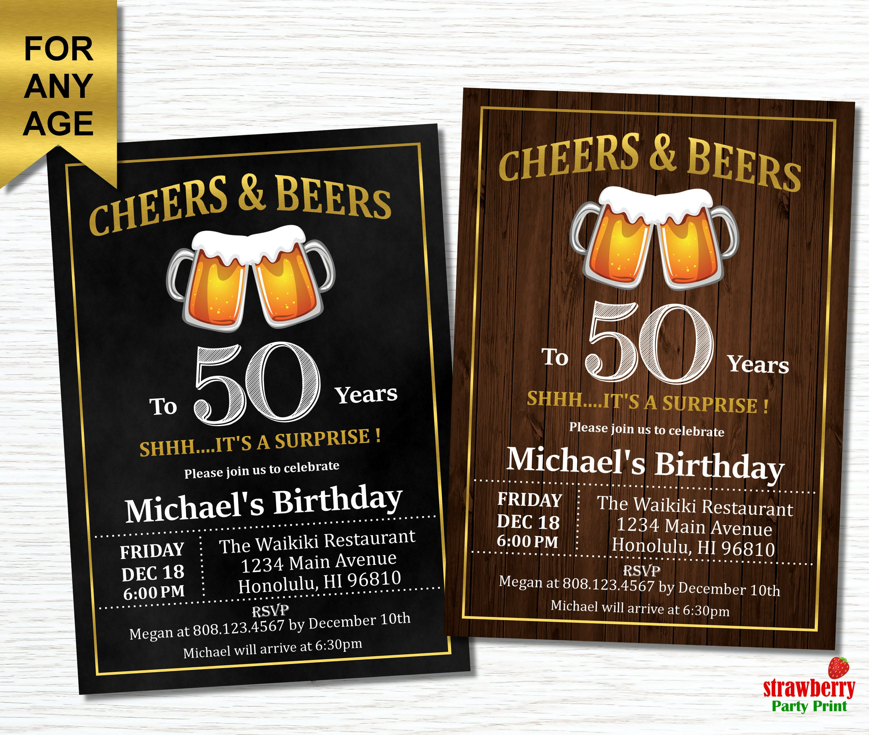 50th Birthday Invitation For Men Cheers And Beers To 50