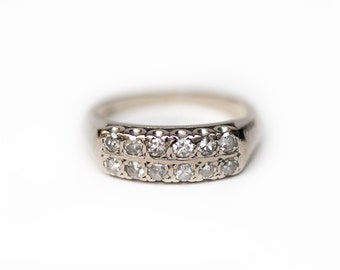 diamond wedding band white gold diamond ring vintage wedding band 1950s wedding ring - Wedding Ring Diamond