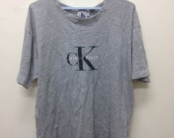 FREE SHIPPING On Sale 20% Vintage CK Calvin Klein Sport New York Jeans Couture 90's Big Logo Gray Hip Hop Rap Swag Tee T shirt Size Large
