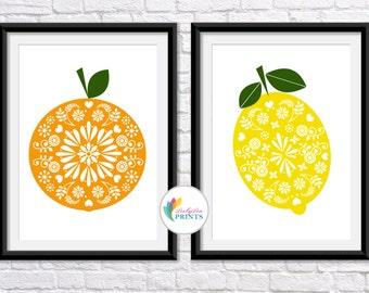 Set of 2 Fruit Kitchen Prints - Orange and Lemon Prints - Retro Fruit Prints - Mid Century Prints - Vintage Kitchen Prints