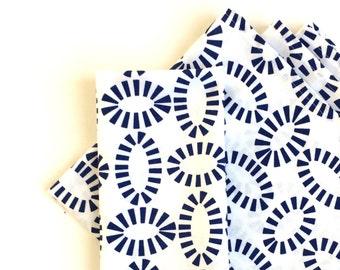 Large Cloth Napkins, Set of 4 - Elegant Ellipticals, Blue and White, 100% Cotton