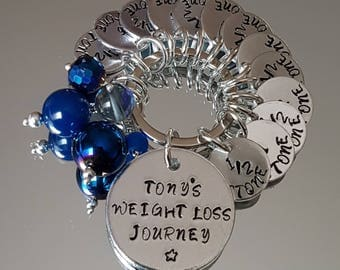 Hand stamped weight loss keyring. Can be personalised in any way
