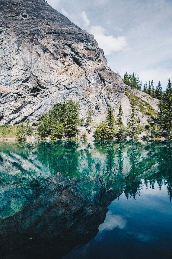 Canada, Reflection, Trees, Green, Nature, Print, Photograph, Fine Art, Wall Art, Canmore, Grassi Lakes, Alberta, Lakes, Canadian Rockies