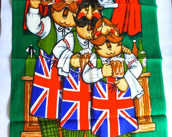 """Vintage Unused GJA Cotton and Linen 1970s Tea Towel with three men singing """"Here's a Health unto Her Majesty"""" with union jack aprons"""