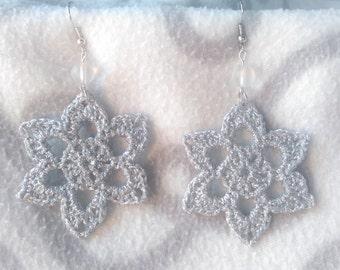 SIlver Flower Crochet Earrings