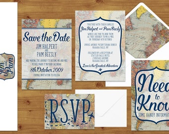 Vintage Travel and Map Themed Wedding Invitations Stationery Set  - Printed or Digital Download - Destination Wedding - Wedding Printable