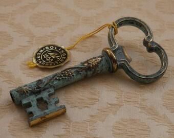 Brass Key Corkscrew, Solinger Key, Ornate Vintage Key, Bottle Opener, Skeleton Key, Brass Collectible, Bar Accessories, Drink Bottle Opener