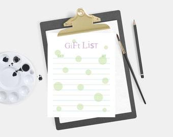 Bridal Shower gift list, list of received gifts, wedding gift list, bridesmaid, modern, bridal shower, wedding shower printable list, purple