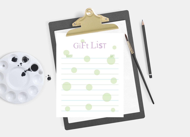 Wedding Gift List Online: Bridal Shower Gift List List Of Received Gifts Wedding Gift