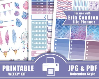Watercolor Planner Stickers Printable,Boho Planner Stickers,Boho Weekly Kit for use with Erin Condren Life Planner