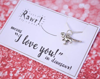 Dinosaur necklace Rawr means I love you in Dinosaur necklace T-rex necklace romantic gift funny romantic gift silver dinosaur T Rex necklace