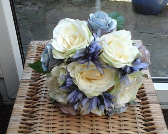 wedding silk bouquet blue/grey rose bouquet wedding bouquet wedding flowers brides bouquet ivory roses blue grey roses