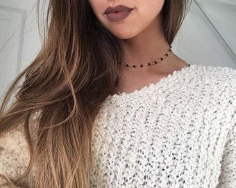 Black Beaded Rosary Choker Necklace