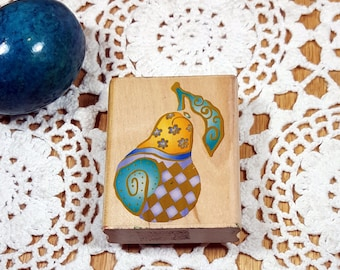 PEAR RUBBER STAMP Patterned Pear Vintage Rubber Stamp Fruit Stamp Block