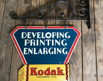 Original Kodak Film Double Sided Metal Sign With Bracket