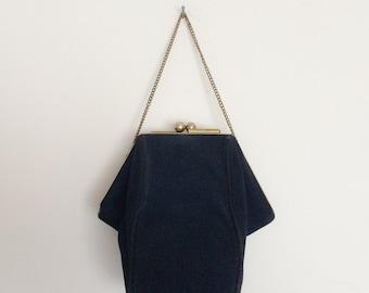 1960s Navy Blue Suede Unique Clutch Evening Purse Vintage