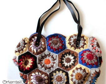 Handmade Flowers Crochet Knit Shoulder Bag B Boho Hippie Ethnic Asian Peasant