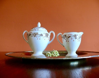 Wedgwood Autumn Creamer and Lidded Sugar Bowl Set, Bone China S419, Brown Leaves, Red Berries, Gold Trim, Hand Painted English Bone China