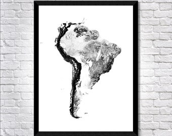 Shadowlands South America map art | Printable South America map print, South America print, South America poster, South America art wall art