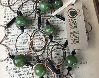 Canadian Jade and Onyx Copper Chain; Eco Friendly Jewelry; Boho Pendant; Zen Jewelry; Sustainable Jewelry