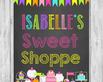 Sweet Shoppe Chalkboard Sign - Candy Birthday - Cupcake Birthday - Sweet Birthday Party - Custom Candy Shop Sign - Candy Birthday Party