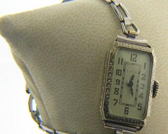 Estate 14 Karat White Gold Elgin Watch Vintage AWB-8