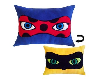 Miraculous Ladybug Eyes Reversible Plush Pillow