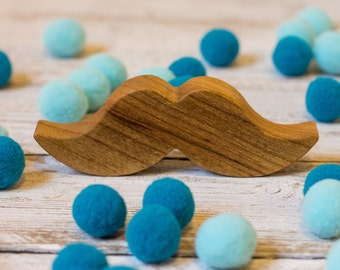 Wooden Teether Toy | Funny and Cute Mustaches Grasping Stroller Toy | Natural Cherry Wood Baby Shower Gift | Organic Newborn Teething Toy
