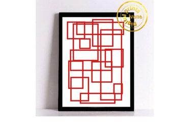 Printable art Digital Prints red modern wall art printable art, printable prints
