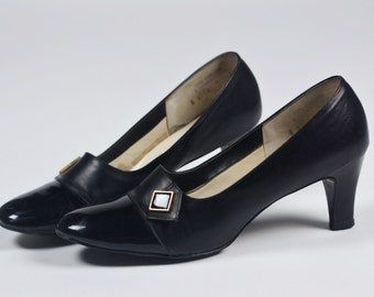 1960's Vintage Heels with Patent Toe Detail/Size 8