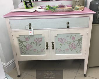 Hand Painted and Embellished Vintage Buffet