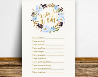 Boho Wishes for the baby, Boho Baby shower games, Baby shower wishes, Baby shower activities, Wishes for baby card, Wish for baby,Blue-BoHo