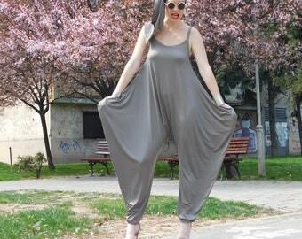 Plus Size Jumpsuit, Summer Jumpsuit, Women Jumpsuit, Harem Romper, Women Overall, Gray Romper, Women Harem Pants, Avant Garde Clothing