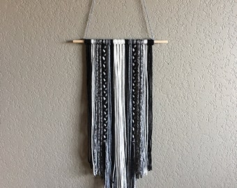 Ready to Ship - Black, White, and Grey Wall Hanging, 12""