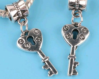 Silver Key Charm Bead - Euro Bead - European Bracelet