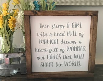 Here Sleeps A Girl Wood Sign with Wood Frame- Nursery Sign - Baby Shower Gift