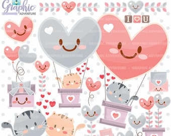 75%OFF - Valentine Clipart, Valentine Graphics, COMMERCIAL USE, Love Clipart, Valentines Day Clipart, Valentine Cat, Kawaii Clipart