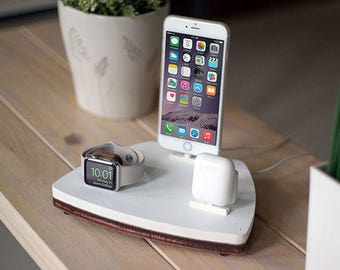 NytStnd AIRPODS TRIO 1 White - FREE Shipping Dock Charging Station Wireless for iPhone 8 AirPods Apple Watch Birthday Gift Present