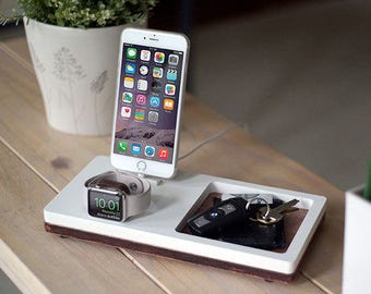NytStnd TRAY 2 White - FREE SHIPPING Charging Station Wireless iPhone 8 Apple Watch Oak Wood Christmas Birthday Gift Present