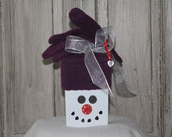 Wooden Snowman - Purple Knit Hat with Silver Ribbon