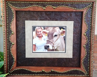 8 x 10 Leather Western Photo Wood Frame Cowboy Rustic Christmas Gift