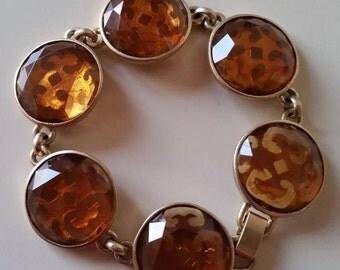 Vintage Jewellery, Vintage Bracelet, Amber Glass Bracelet, Liz Claibourne Bracelet, Amber Bracelet, Vintage Jewelry, Costume Jewellery